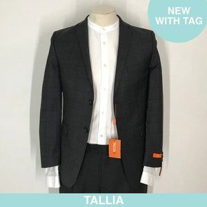 Auth Tallia charcoal/red check blazer